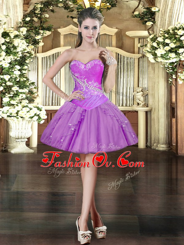 Lavender Ball Gowns Beading and Ruffles Prom Gown Lace Up Organza Sleeveless Mini Length