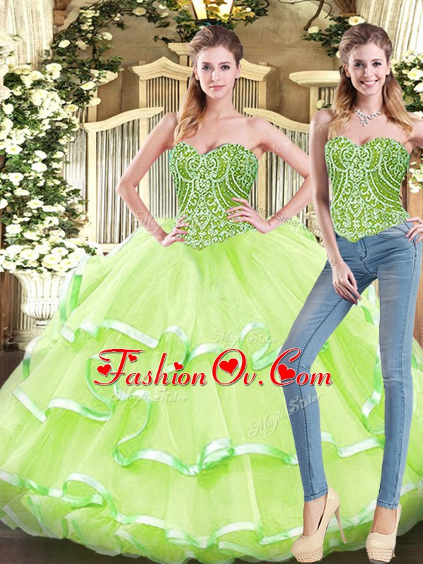Yellow Green Two Pieces Organza Sweetheart Sleeveless Beading and Ruffled Layers Floor Length Lace Up Sweet 16 Dress