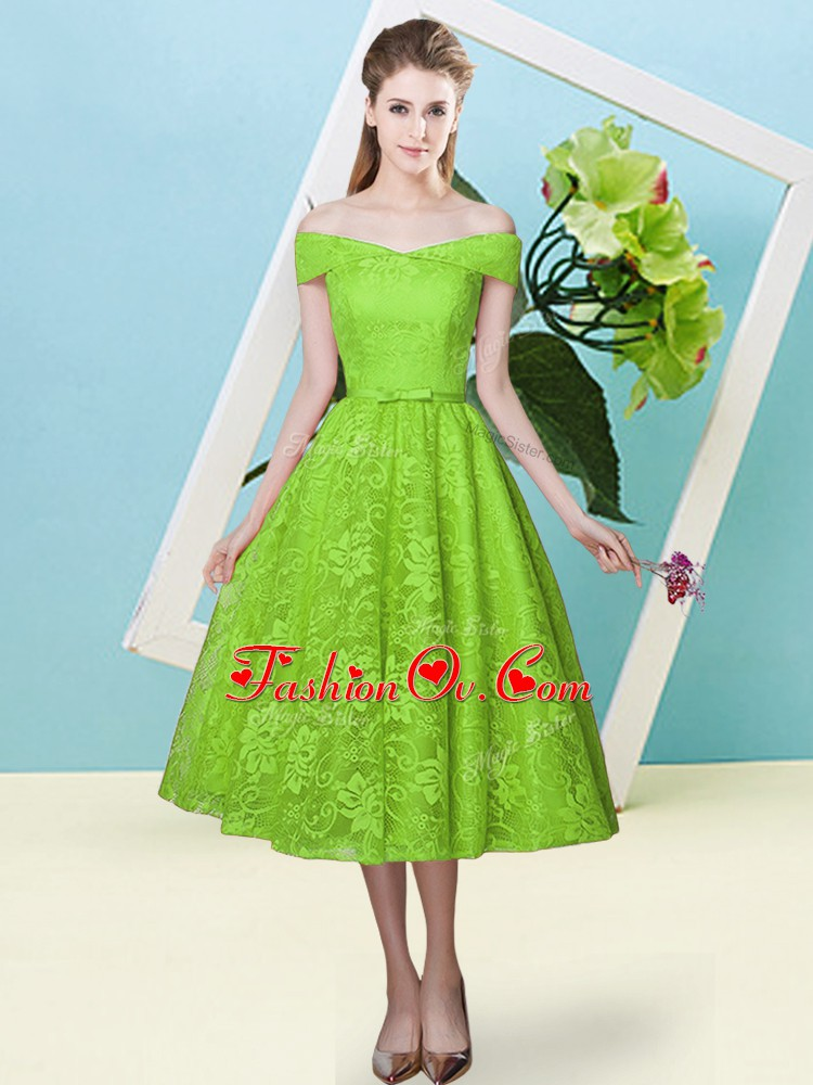 Glorious Yellow Green Off The Shoulder Lace Up Bowknot Quinceanera Court Dresses Cap Sleeves