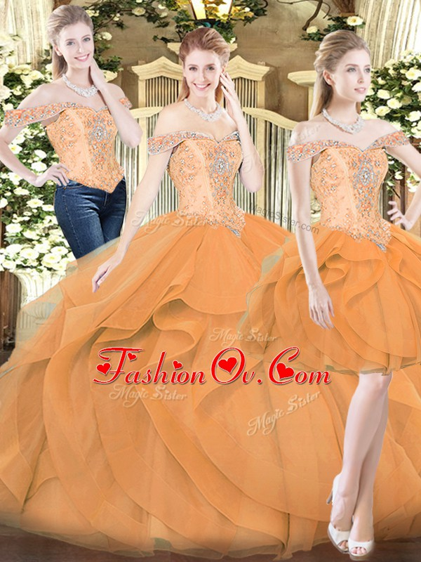 Organza Sleeveless Floor Length Sweet 16 Dresses and Ruffles