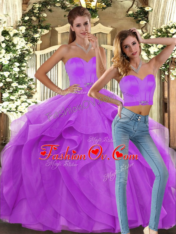 Lilac Sweet 16 Quinceanera Dress Sweet 16 and Quinceanera with Ruffles Sweetheart Sleeveless Lace Up