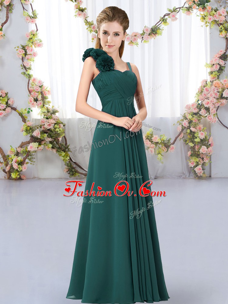 Luxury Peacock Green Straps Neckline Hand Made Flower Bridesmaids Dress Sleeveless Lace Up