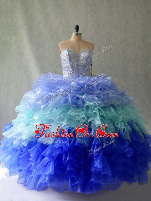 Multi-color Organza Lace Up Sweetheart Sleeveless Floor Length Quinceanera Gown Beading and Ruffles