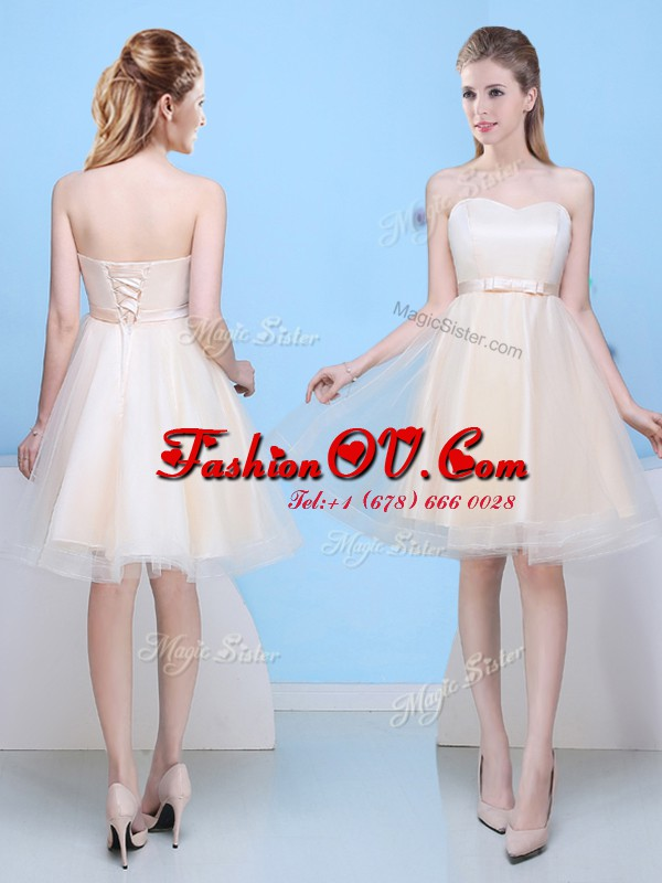 Champagne Sleeveless Tulle Lace Up Bridesmaid Dress for Prom and Party