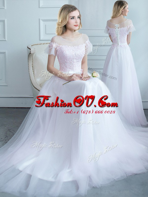 White Tulle Lace Up Scoop Short Sleeves Quinceanera Dama Dress Sweep Train Lace and Belt