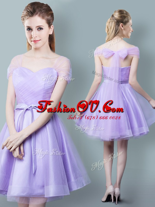 On Sale Empire Quinceanera Dama Dress Lavender Straps Tulle Cap Sleeves Knee Length Zipper