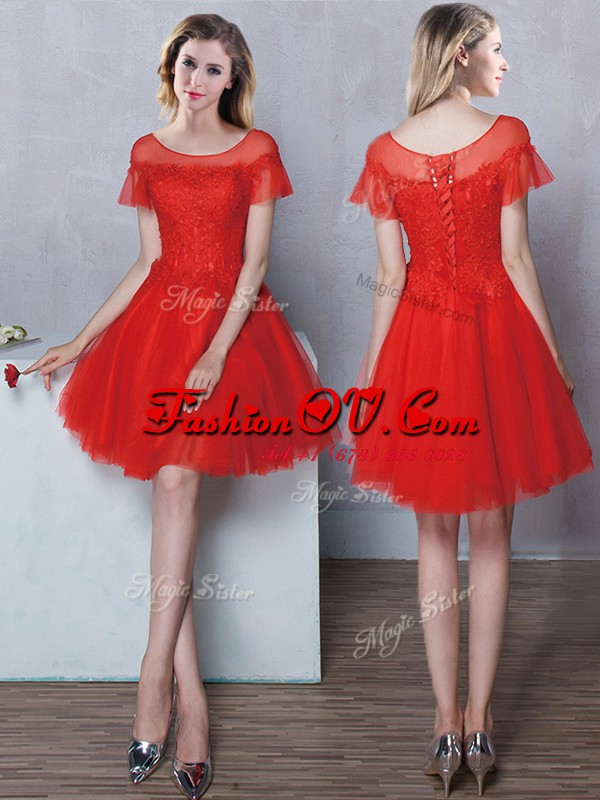 Wonderful Red Scoop Lace Up Lace Quinceanera Court Dresses Short Sleeves