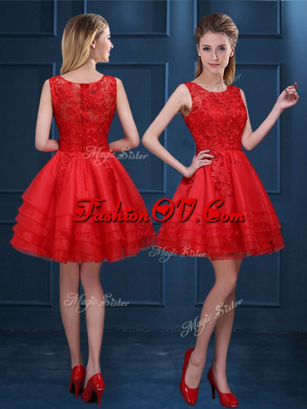 High End Scoop Sleeveless Zipper Mini Length Lace and Ruffled Layers Quinceanera Court of Honor Dress
