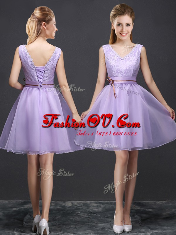 Mini Length A-line Sleeveless Lavender Bridesmaid Dresses Lace Up