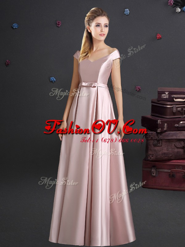 Suitable Off the Shoulder Elastic Woven Satin Cap Sleeves Floor Length Court Dresses for Sweet 16 and Bowknot