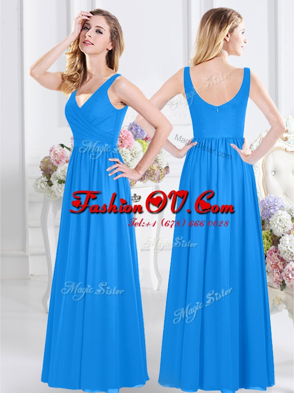 Charming Baby Blue Zipper Wedding Guest Dresses Ruching Sleeveless Floor Length