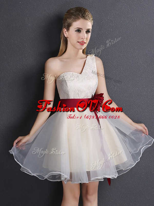 Champagne One Shoulder Lace Up Lace and Hand Made Flower Vestidos de Damas Sleeveless