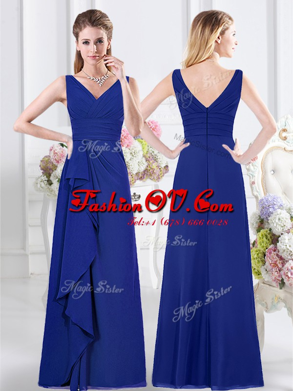 V-neck Sleeveless Zipper Wedding Party Dress Royal Blue Chiffon