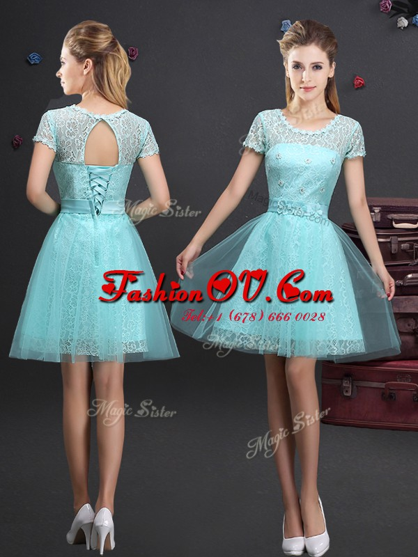 A-line Dama Dress for Quinceanera Aqua Blue Scoop Tulle Short Sleeves Mini Length Lace Up
