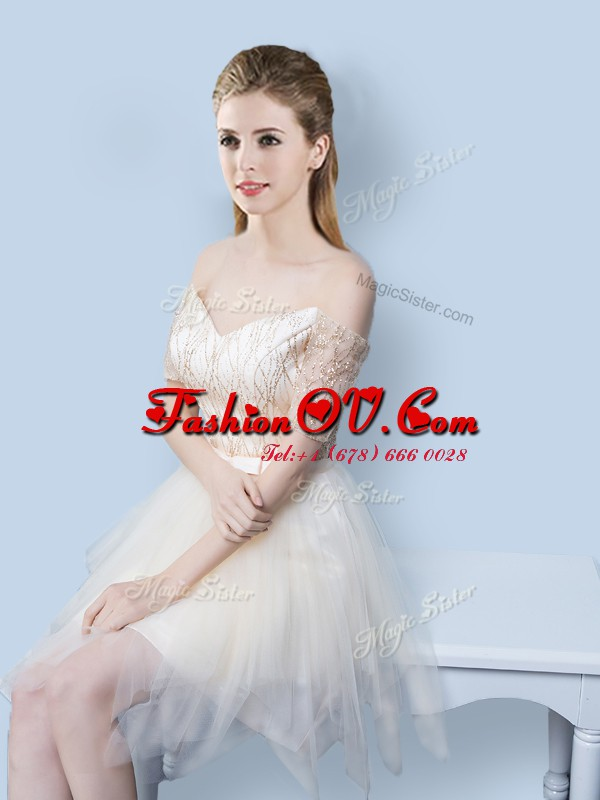 Off the Shoulder Sequins Champagne Short Sleeves Tulle Lace Up Quinceanera Court of Honor Dress for Prom and Party