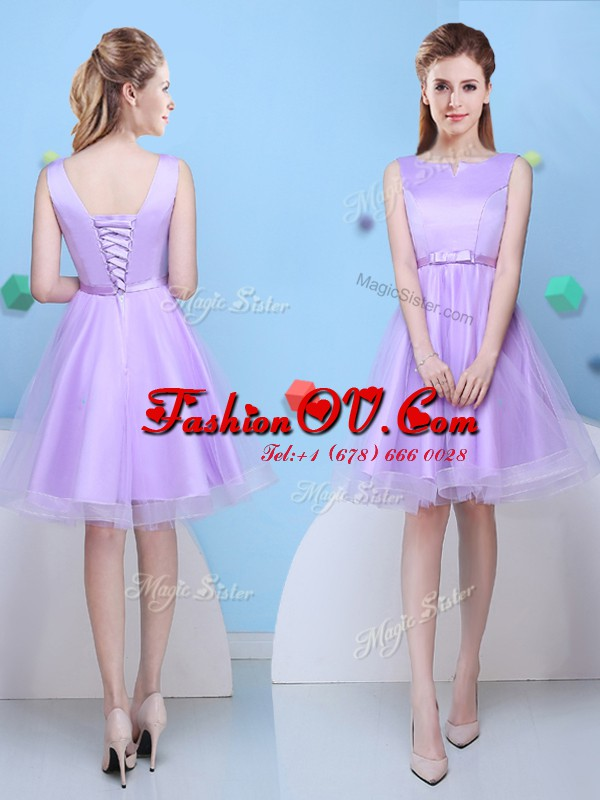 Scoop Knee Length A-line Sleeveless Lavender Wedding Guest Dresses Lace Up