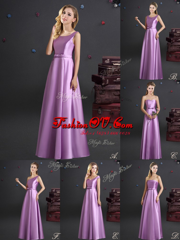 Spectacular Square Sleeveless Floor Length Bowknot Zipper Court Dresses for Sweet 16 with Lilac