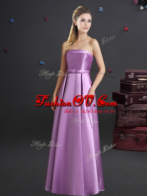 Fitting Lilac Empire Bowknot Court Dresses for Sweet 16 Zipper Elastic Woven Satin Sleeveless Floor Length