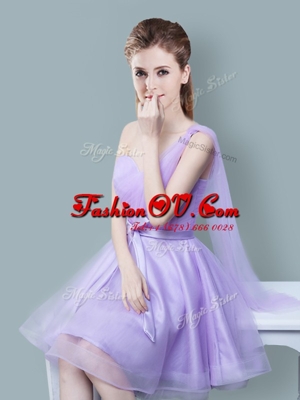 One Shoulder Lavender Empire Ruching and Bowknot Bridesmaid Dresses Zipper Tulle Sleeveless Knee Length