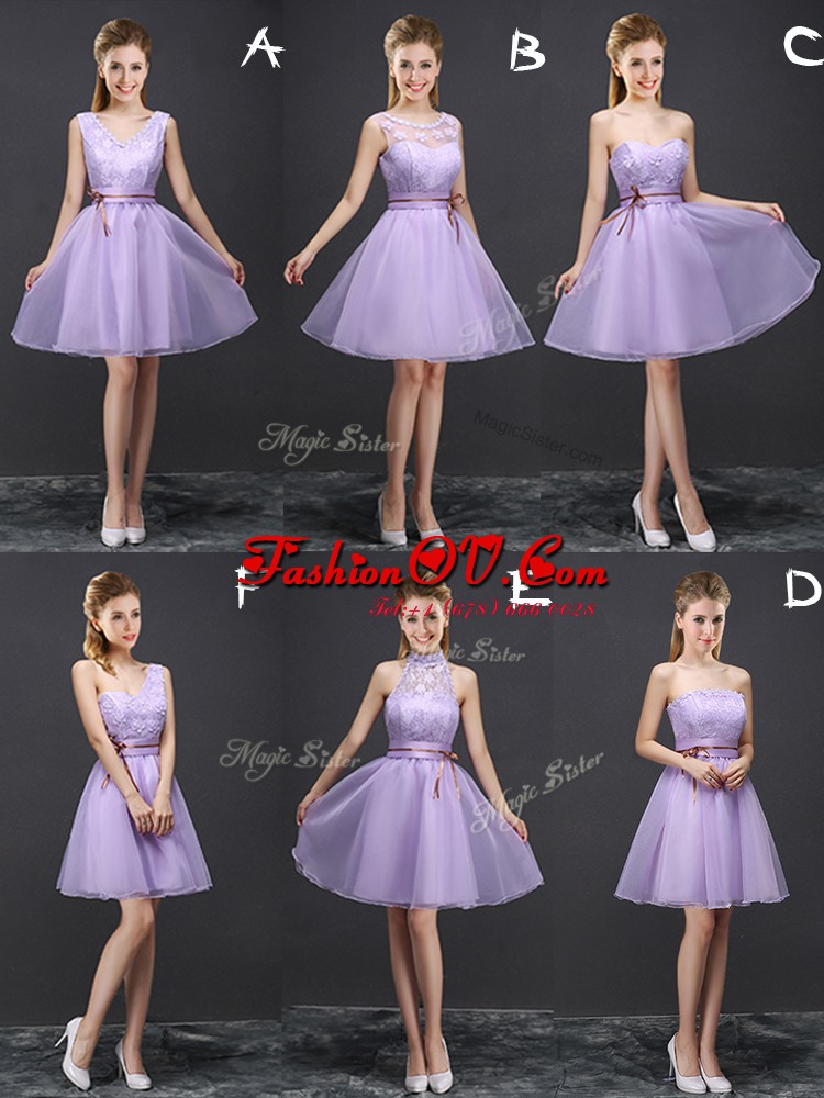 Perfect Mini Length Lace Up Quinceanera Court of Honor Dress Lavender for Prom and Party and Wedding Party with Lace and Appliques and Belt