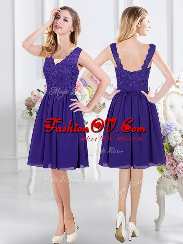 High Class Chiffon Scalloped Sleeveless Zipper Lace Dama Dress for Quinceanera in Purple