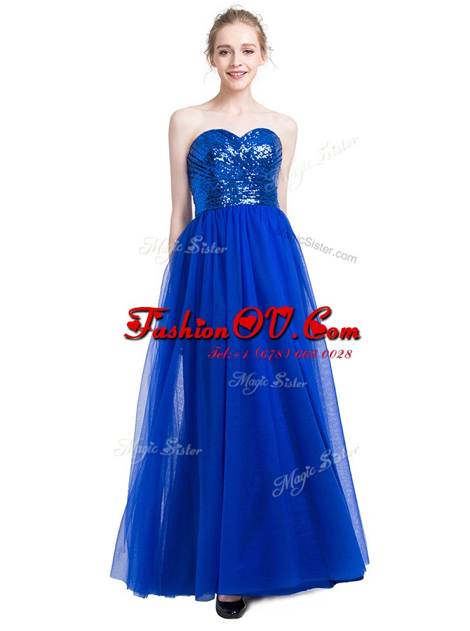 Sleeveless Tulle Floor Length Zipper Homecoming Dress in Royal Blue with Sequins