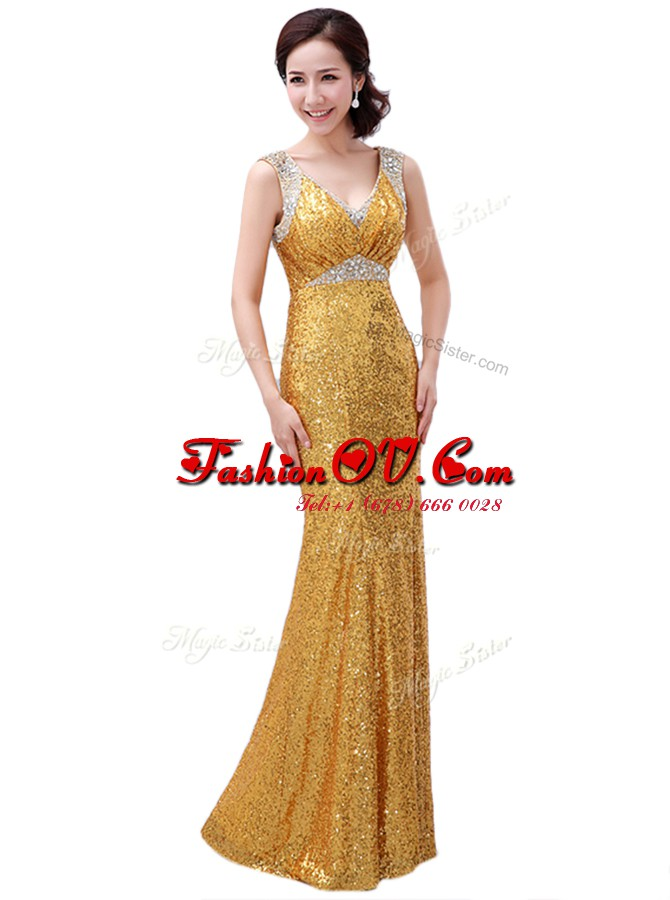 Exceptional Gold Prom Dresses Prom and Party and For with Sequins V-neck Sleeveless Zipper