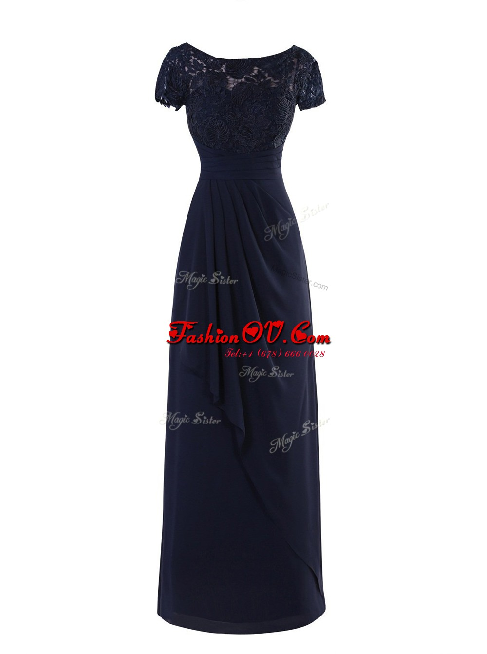 Lovely Chiffon Scoop Short Sleeves Zipper Lace and Ruching Evening Dress in Navy Blue