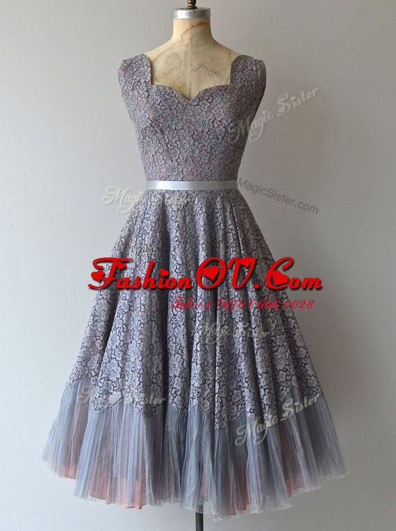 Stunning Square Lace Grey Sleeveless Knee Length Belt Zipper Prom Evening Gown