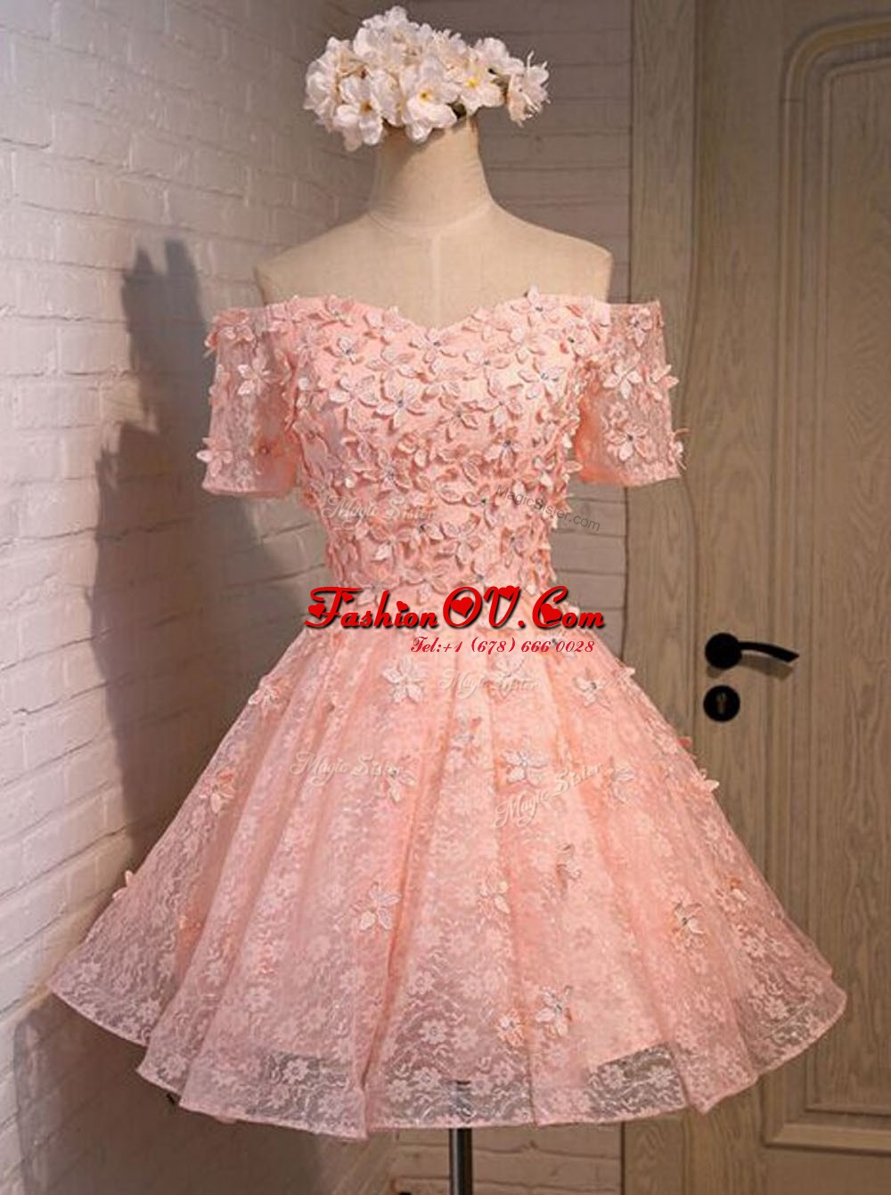 Traditional Peach Homecoming Dress Prom and For with Appliques Off The Shoulder Sleeveless Lace Up