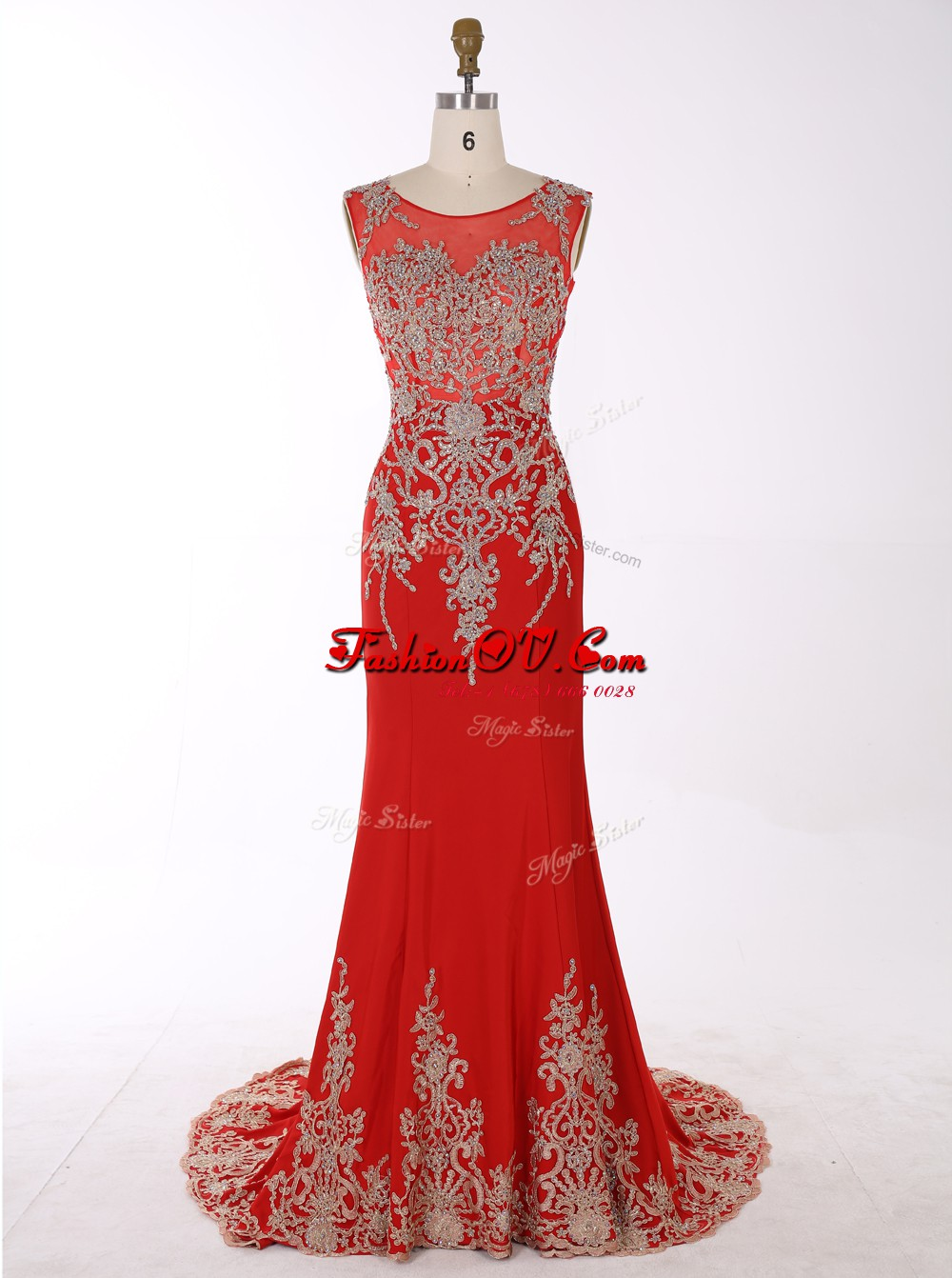 Captivating Mermaid Red Zipper Scoop Beading and Appliques Homecoming Dress Chiffon Sleeveless Brush Train