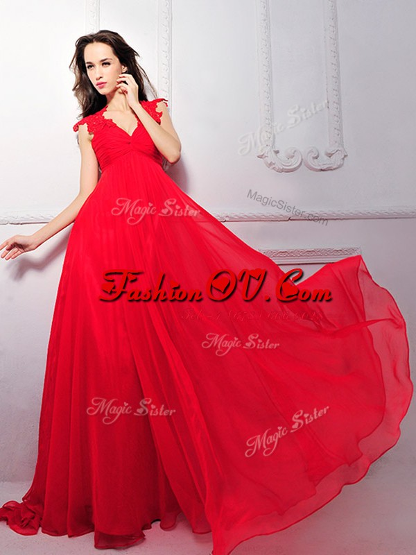 Clearance Floor Length Zipper Prom Party Dress Coral Red for Prom and Party with Lace