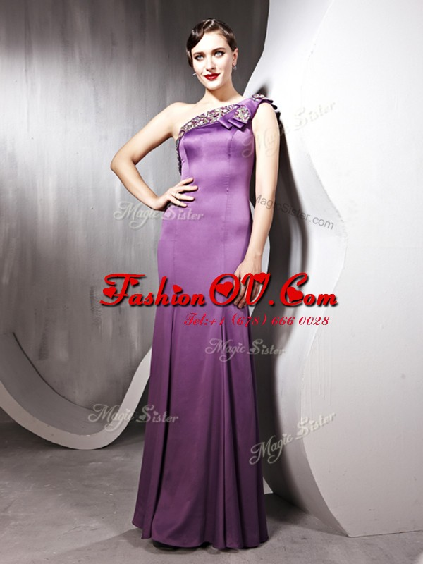 Great One Shoulder Sleeveless Beading Side Zipper Homecoming Dress