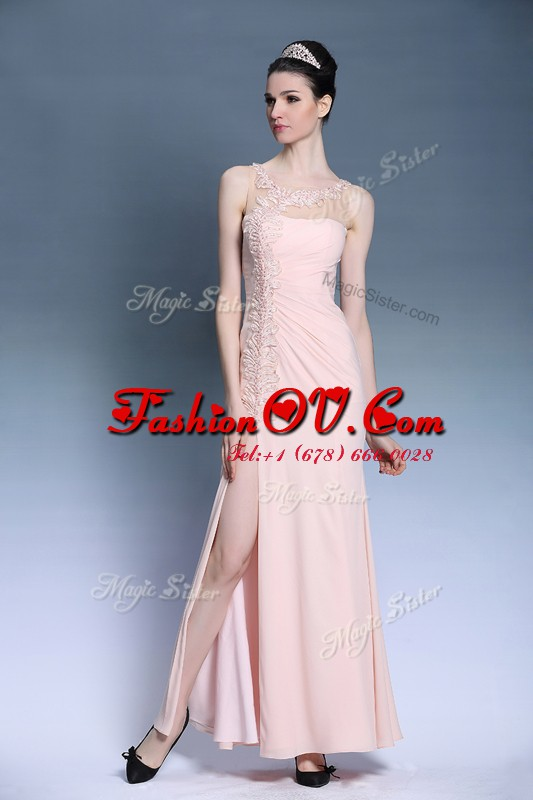 Fancy Ankle Length Side Zipper Prom Evening Gown Baby Pink for Prom and Party with Appliques
