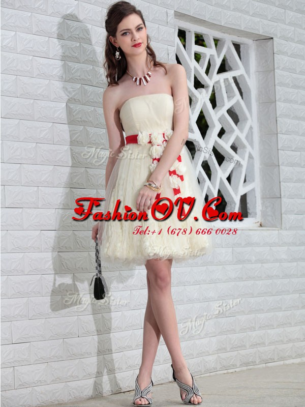 On Sale Lace White Sleeveless Belt and Hand Made Flower Floor Length Cocktail Dresses