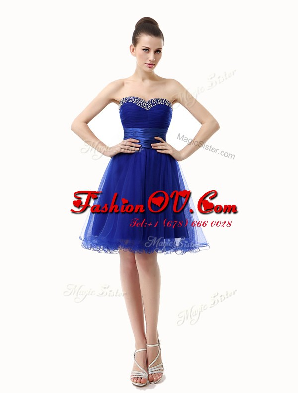 Royal Blue A-line Organza Sweetheart Sleeveless Ruffled Layers and Sequins and Ruching Knee Length Lace Up Cocktail Dresses