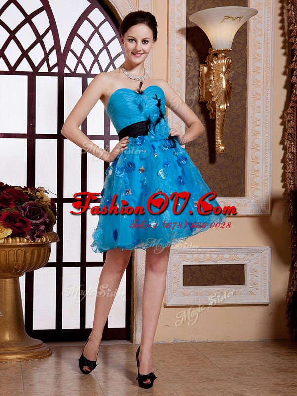 Customized Sleeveless Knee Length Appliques and Belt Zipper Cocktail Dress with Baby Blue