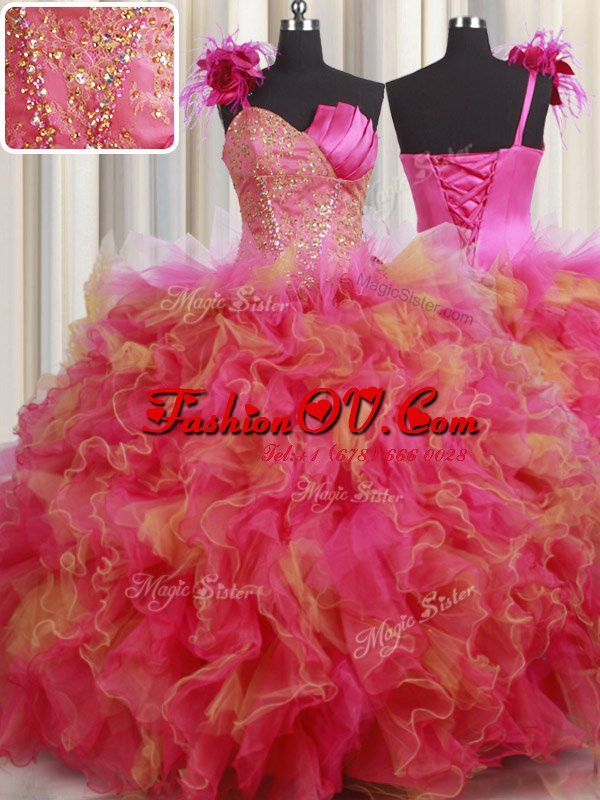 Custom Design One Shoulder Multi-color Organza and Tulle Lace Up 15th Birthday Dress Sleeveless Floor Length Beading and Ruffles and Hand Made Flower
