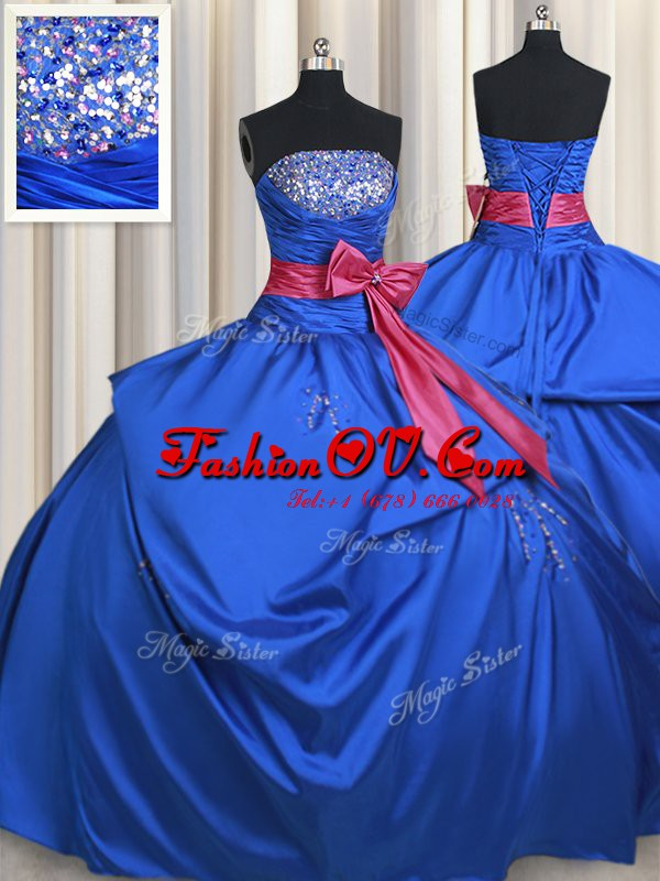 Blue Vestidos de Quinceanera Military Ball and Sweet 16 and Quinceanera and For with Beading and Bowknot Strapless Sleeveless Lace Up
