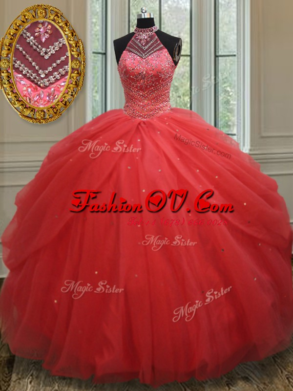 Eye-catching Pick Ups Ball Gowns Ball Gown Prom Dress Red Halter Top Tulle Sleeveless Floor Length Lace Up