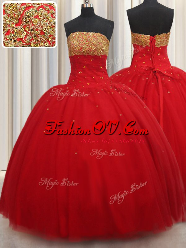 Attractive Red Lace Up Sweet 16 Dress Beading Sleeveless Floor Length