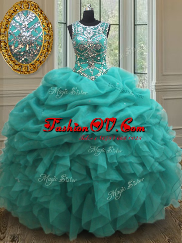 Scoop See Through Beading and Ruffles and Pick Ups Sweet 16 Dresses Turquoise Lace Up Sleeveless Floor Length