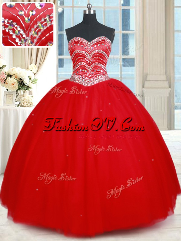 Floor Length Red Sweet 16 Dress Sweetheart Sleeveless Lace Up