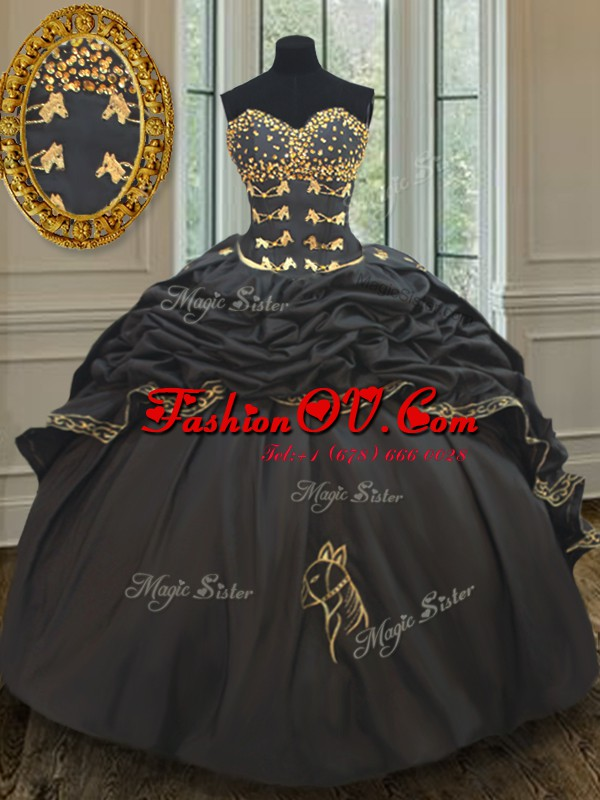 Black Ball Gown Prom Dress Taffeta Brush Train Sleeveless Beading and Embroidery and Pick Ups
