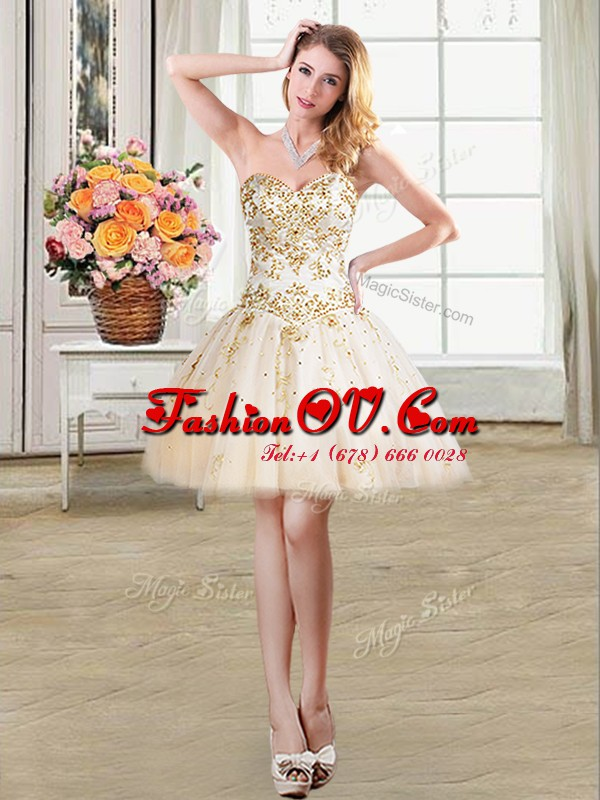Dynamic Champagne Ball Gowns Beading Prom Dress Lace Up Tulle Sleeveless Mini Length