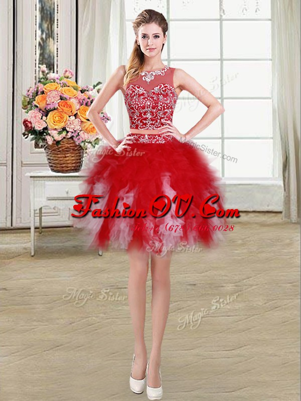 Red Ball Gowns Tulle Scoop Sleeveless Beading and Ruffles Mini Length Zipper Prom Evening Gown