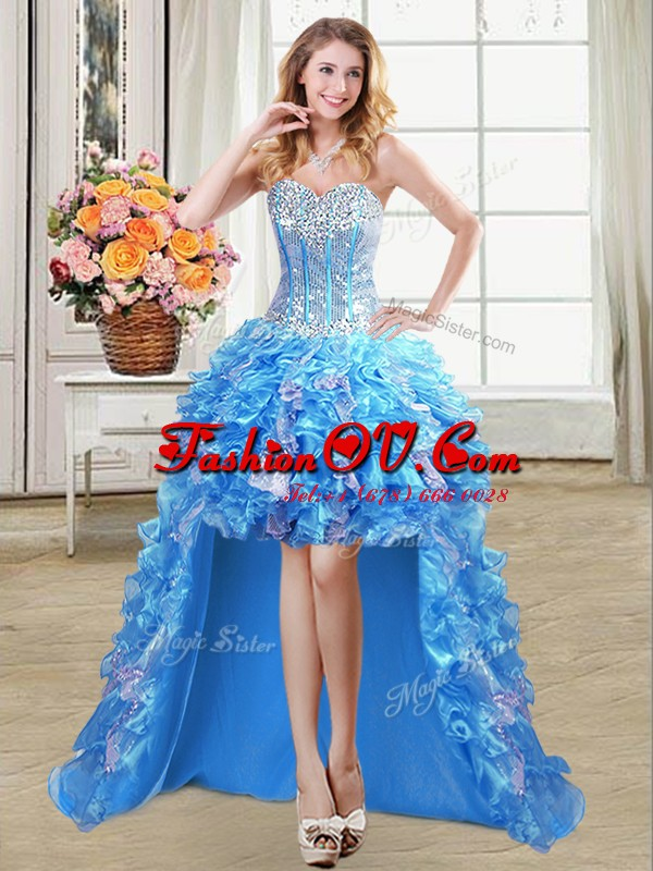 Cute Baby Blue A-line Organza Sweetheart Sleeveless Beading and Ruffles and Sequins High Low Lace Up Prom Gown