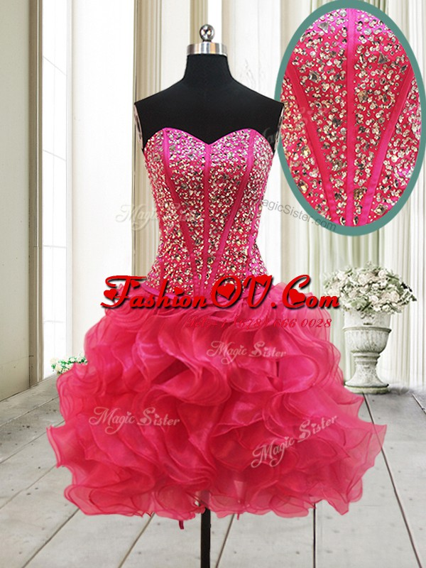 Admirable Mini Length A-line Sleeveless Hot Pink Prom Party Dress Lace Up