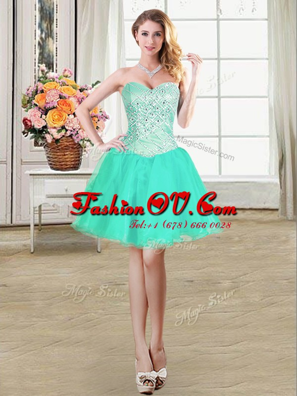 High Quality Sweetheart Sleeveless Prom Evening Gown Mini Length Beading and Ruffles and Pick Ups Turquoise Organza