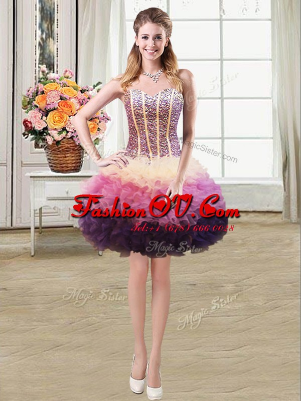 Mermaid Multi-color Organza Lace Up Homecoming Dress Sleeveless Mini Length Beading and Ruffles
